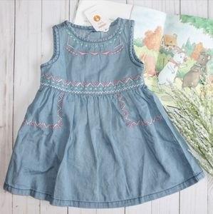 GYMBOREE GIRLS EMBROIDERED CHAMBRAY DRESS
